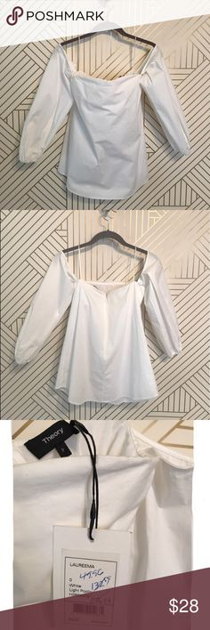1de50340fae9c Theory long sleeve off the shoulder white shirt I got this Theory white  shirt that has