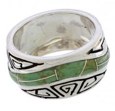 Sterling Silver Turquoise Water Wave Ring Size 7-3/4 EX40855
