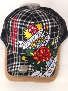Ed Hardy Christian Audigier Motorcycle Biker Cap Hat Black Plaid True To My  Love  EdHardy d0a9d861196