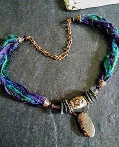 Jewelry Shop, Pendant Jewelry, Beaded Jewelry, Handmade Jewelry, Jewelry Making, Opal Necklace, Boho Necklace, Ribbon Necklace, Textile Jewelry