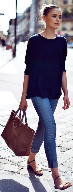 Casual and Chic Outfit - Simple Blue Town Outfit. Latest Street Style Trends 2015.