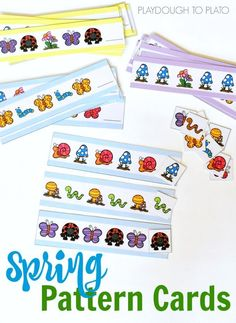 Pattern Cards Spring Pattern Cards for Preschool and Kindergarten! Great math center or activity for a bug unit.Spring Pattern Cards for Preschool and Kindergarten! Great math center or activity for a bug unit. Free Preschool, Preschool Themes, Preschool Printables, Spring Activities, Preschool Activities, Preschool Kindergarten, Playdough To Plato, Math Patterns, Grande Section