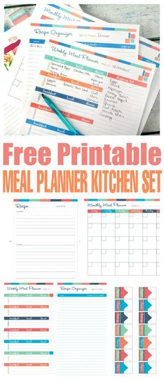 Free Printable Meal Planner Kitchen Set to help you save money and time!