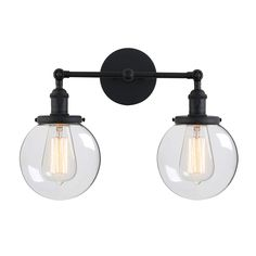 Permo Double Sconce Vintage Industrial Antique Wall Sconces with Dual Mini Round Clear Glass Globe Shade (Black)