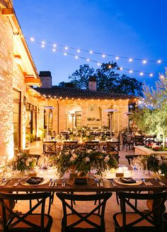 Who wouldn't want to celebrate their birthday spending a glamorous night under the stars? String lights hung from above rustic wooden tables transporting guests to Italy.