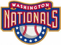 Washington Nationals logo machine embroidery design  $7 embroideres.com