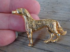 VINTAGE Damascene TOLEDOWARE Dog Canine Brooch Pin Toledo SPAIN Spanish Jewelry #Spain #FiguralDogGoldenRetrieverToledoware