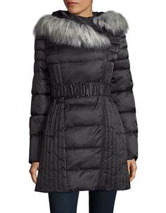 """<ul><li>Quilted puffer jacket with faux fur-trimmed hood</li><li>Fur-trimmed attached hood</li><li>Off-center zip front</li><li>Long sleeves</li><li>Polyester lining</li><li>About 33"""" from shoulder to hem</li><li>Polyester</li><li>Faux fur: Face: Modacrylic/acrylic</li><li>Ground: Polyester</li><li>Fur type: Faux</li><li>Machine wash</li><li>Imported</li></ul>"""