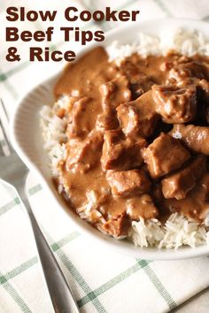Slow Cooker Beef Tips and Rice | Six Sisters' Stuff These Slow Cooker Beef Tips and Rice are amazing. It is seriously a no fail recipe. Put the ingredients in a slow cooker and that's it! It is seriously that EASY. And did I mention that is tastes amazing and your house will smell so good? You are going to love this recipe.