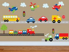 Car Decal - Construction Wall Decal -Bus Decal- Transportation Decal - Truck Wall Decal - Boy Wall Decal - Nursery Wall Decal - Wall Decals by YendoPrint on Etsy Kids Wall Decals, Kids Stickers, Nursery Wall Decals, Car Decals, Nursery Room, Vinyl Art, Boy Room, Kids Bedroom, Kids Rooms
