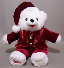 2010 Snowflake Teddy Bear Christmas Boy White Fur Red Velvety Tux Tails