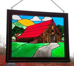 Old Barn Landscape -  Stained Glass Look - Red Roof Barn - Framed Barn Art -  Hand Painted Window Decor - Barn Stain Glass