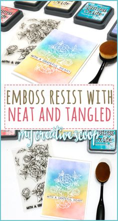 Emboss Resist with Neat and Tangled - Here's a card using the newest from Neat and Tangled and Tim Holtz Distress Oxide Inks. Card Making Tips, Card Making Techniques, Making Ideas, Neat And Tangled, Embossing Techniques, Anna Griffin Cards, Interactive Cards, Distress Oxide Ink, Embossed Cards