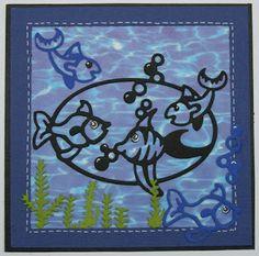Kreativt Værksted: Lidt hygge med fisk.   Kortet er 14x14 cm, lavet p...