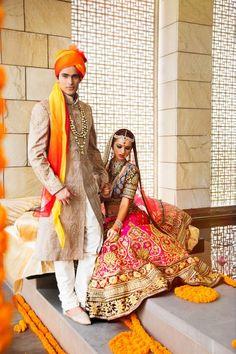Indian wedding photography. Couple photo shoot ideas. Indian bride wearing bridal lehenga and jewelry. #IndianBridalHairstyle #IndianBridalMakeup Groom wearing sherwani and turban.