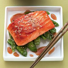 Terriyaki Lachs mit Sesam Zuckerschoten #lowcarb #salmon #Asian - Ich bin dann mal schlank Rezept