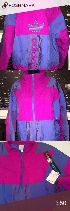 Adidas windbreaker coat. Pink and purple 90s style wind breaker coat. Sz L Adidas Jackets & Coats Puffers