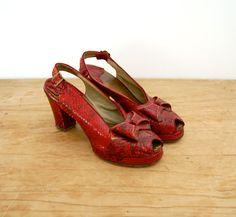 Vintage red snakeskin-look platforms. Dang my size-9 feet!