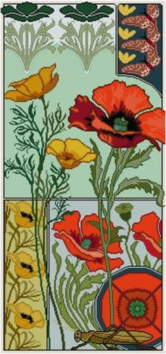 Red Poppies Floral Panel Cross Stitch Pattern PDF Yellow   Etsy