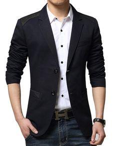 3eac638c1a6 Mens 2 Buttons Cotton Solid Color Sports Blazer Jacket - Black - CE125U6H5UX