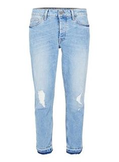 0b05fa19 Light Wash Blue Ripped Raw Hem Stretch Skinny Jeans Mens Stretch Skinny  Jeans, Mens Distressed