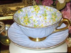 Oleander Shelley PRIMROSE CHINTZ Blue Tea cup and Saucer Set Footed  #OleanderFootedAntiqueVintageBoneChina #ShelleyChinaEngland