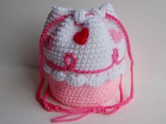 Crocheted Pink and White Cupcake Purse with by stayhomecupcake, $14.00
