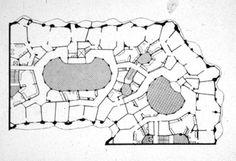 Antoni Gaudi. plan, Casa Mila. Barcelona. 1905-10 #architecture #barcelona