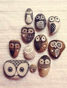Rock Owls for indoor plants...Josh can make these for Donna.