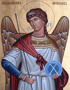 St. Michael Religious Pictures, Religious Icons, Religious Art, Gabriel, Spiritual Images, Visual And Performing Arts, Religious Paintings, Byzantine Art, Holy Mary