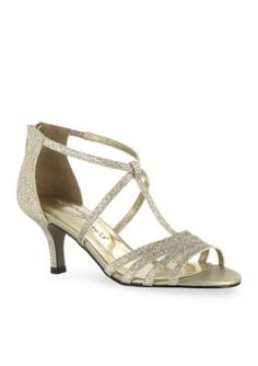 Easy Street Gold  Glitter Gaze Evening Sandals