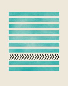 TEAL STRIPES AND ARROWS Art Print