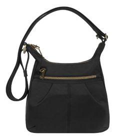Travelon Anti-Theft Signature Top Zip Shoulder Bag, Black...