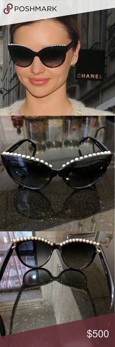 Original Chanel Sunglasses with real Pearls inside Worn a handful of times. Love these! In great condition, have too many sunglasses... Spring cleaning. One of the screws is a little loose just needs to be tightened and does not come with case. CHANEL Accessories Sunglasses