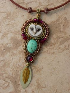 Pendant . stone and nature. love owls.