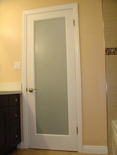 Frosted glass bathroom door