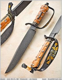 """Best Bowie"" Blade 2011- D-Guard Dogbone- John White, Master Smith  10 1/4 inch ""W-Cored"" turkish Twist , 4-bar Damascus blade. Walrus Ivory Dogbone Frame handle, Sterling silver and Damascus fittings, Gold inlay and gold inlayed engraving by Joe Mason ."