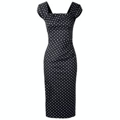 An homage to hourglass dress, this black beauty features a darling polka dot print, asymmetrical bust and waist ruching, squared neckline, and cap sleeves Cute Dresses, Vintage Dresses, Vintage Outfits, Vintage Clothing, Hourglass Dress, Hourglass Shape, Vintage Inspired Fashion, Feminine Style, Vintage Looks