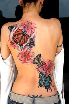 Best Butterfly Tattoo Designs on Back for Girls - Flower tattoos – The Unique DIY Upper Back Tattoos which makes your home more personality. Collect all DIY Upper Back Tattoos ideas on spring tattoo ideas, girls tattoo image to Personalize yourselves. Girl Back Tattoos, Great Tattoos, Tattoo Girls, Sexy Tattoos, Beautiful Tattoos, Body Art Tattoos, Tatoos, Tattoos 2014, Fake Tattoos