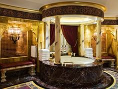 30 Best Room Pictures of the Week – June to June 2012 Bathroom in Burj Al Arab in Dubai – The Fab Web Tuscan Bathroom Decor, Gold Bathroom, Bathroom Styling, Bathroom Interior, Royal Bathroom, Bathrooms Decor, Bathroom Renovations, Bathroom Faucets, Moroccan Bathroom
