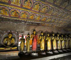 Dambulla Cave Temple a bare, black, isolated rock outcrop that towers 600 feet above the plain lies the largest and best-preserved cave-temple complex in Sri Lanka. A UNESCO World Heritage Site, this sacred place offers 22 centuries of history to visitors. Pilgrims are treated to mural paintings that cover entire cave walls & more than 150 statues of Buddha, other deities, & kings. A 100-foot-tall gold-plated Buddha at the entrance is the X that marks this treasured spot.
