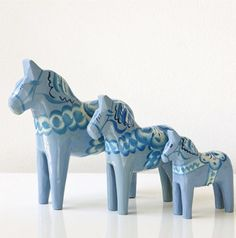 Dala horses  a set of authentic hand decorated hand carved Pale blue Dala horses by Swedishdalahorse #TrendingEtsy