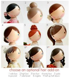 Hair add-ons ideas for clothespin dolls