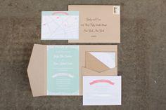 Conjunto de papelaria para casamento em verde menta e papel craft