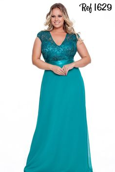 Vestidos Plus Size - Coleção 2016 - Aiza Collection Mais Mais Dresses For Teens, Cute Dresses, Beautiful Dresses, Prom Dresses, Dress Prom, Bride Dresses, Hippie Dresses, Linen Dresses, Plus Size Party Dresses