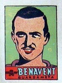 Benavent. Atlético de Madrid. 1941-42. Cromos Bruguera. Portero reserva.