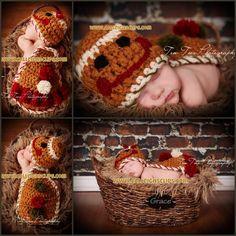 Crochet Pattern- Gingerbread boy   girl - Cuddle Cape Set Tricot,  Artisanats De Crochet 45295d28e7e