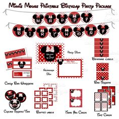 free minnie mouse birthday printables | Minnie Mouse Red Hybrid Printable Birthday Party Package - Sweet Table ...