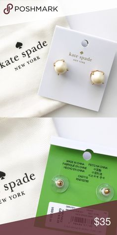 NWT Kate Spade Pearl Earrings These classic studs from Kate Spade are in perfect condition! A Kate Spade jewelry dustbag is included. They will be shipped well protected to keep the posts from being damaged. Feel free to ask any questions or make a reasonable offer! kate spade Jewelry Earrings