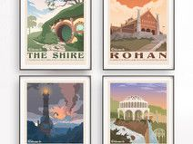 Set von 4 Der Herr der Ringe Poster. Tolkien Wand